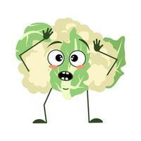 personagem de couve-flor fofo com emoções em pânico vetor