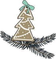 Pão de mel de ano novo com formato de abeto e galho de árvore de natal vetor