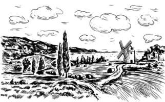 paisagem de verão com moinho, campos, montanhas e um lago vetor