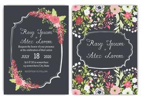 Cartões de casamento elegantes consistem em vários tipos de flores.