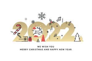 Feliz Natal e Feliz Ano Novo 2022 vetor