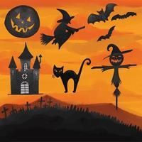 conjunto de clipart do dia do dia das bruxas pintado em aquarela vetor