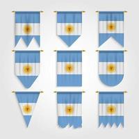 bandeira da argentina em diferentes formatos vetor