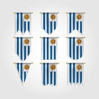 bandeira do uruguai em diferentes formas, bandeira do uruguai em várias formas vetor
