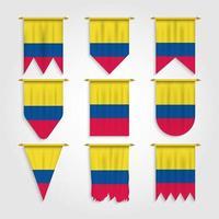 bandeira da colômbia em diferentes formas, bandeira da colômbia em várias formas vetor