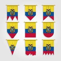 bandeira do equador em diferentes formas, bandeira do equador em várias formas vetor