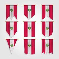 bandeira do peru em diferentes formas, bandeira do peru em várias formas vetor