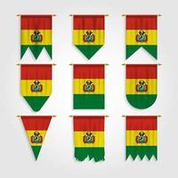 bandeira da bolívia em diferentes formas, bandeira da bolívia em várias formas vetor