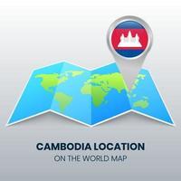 ícone de localização do Camboja no mapa mundial, ícone de alfinete redondo do Camboja vetor