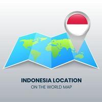 ícone de localização da Indonésia no mapa mundial vetor