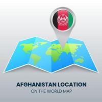 ícone de localização do Afeganistão no mapa mundial vetor