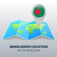 ícone de localização de Bangladesh no mapa mundial vetor