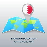 ícone de localização de Bahrein no mapa mundial, ícone de alfinete redondo de Bahrein vetor