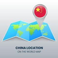ícone de localização da china no mapa mundial, ícone de alfinete redondo da china vetor