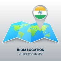 ícone de localização da Índia no mapa mundial, ícone de alfinete redondo da Índia vetor