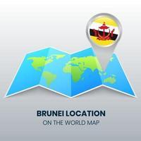 ícone de localização de Brunei no mapa mundial, ícone de alfinete redondo de Brunei vetor