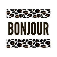 Texto de slogan decorativo bonjour olá com fundo de pele de leopardo vetor