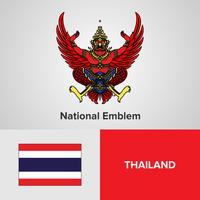 Emblema nacional, mapa e bandeira