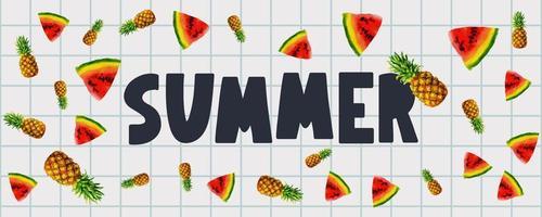 banner de venda de verão com vetor de carta de frutas melancia