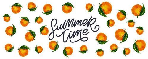 banner de venda de verão com vetor de letras laranja de frutas