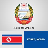Coreia do Norte emblema nacional, mapa e bandeira