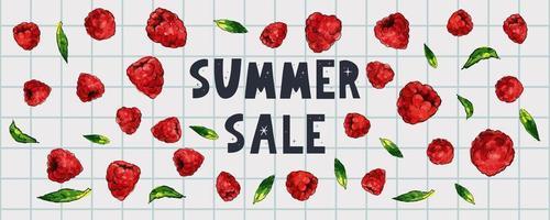 banner de venda de verão com vetor de carta de frutas framboesa