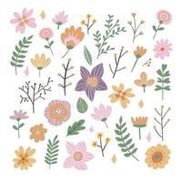 coleção de moldura floral. conjunto de flores retrô fofas vetor
