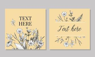 lindo cartão com aquarela bouquet floral vetor