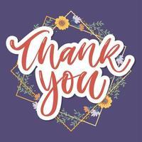 fofo roteiro de agradecimento cartão flores texto de carta vetor