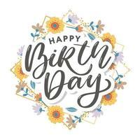 lindo cartão de feliz aniversário com flores vetor