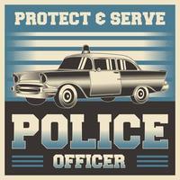 gráfico de vetor de ilustração vintage retrô de pôster de policial