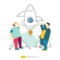 iniciar o conceito de lançamento de negócios. foguete de nave espacial e personagem vetor