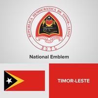 Emblema nacional de Timor-Leste, mapa e bandeira