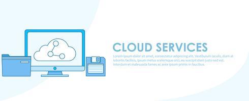 Banner de serviços de nuvem. Computador com armazenamento online, transferindo arquivos para outros dispositivos. Ilustração de linha plana de vetor