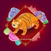 tigre gordo fofo no banner do ano novo chinês chinês traduzir vetor