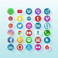 Ícones de mídia social vetor