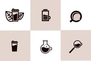O ícone da Web do café ajustou - o copo, energia, bebida leva embora. Objeto de logotipo com linha preta. Ilustração em vetor linha