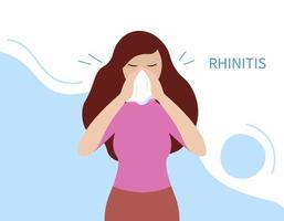 doença de rinite. nariz a pingar. mulher doente segurando lenço vetor