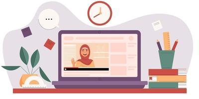 mulher muçulmana na tela do laptop. conceito de e-learning. vetor