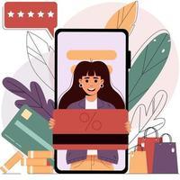 compra móvel a partir de um smartphone. Conceito de compra on-line, venda vetor