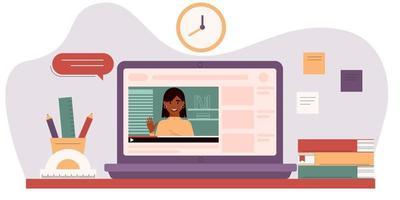 e-learning, tutoriais em vídeo, conceito de educação online. vetor