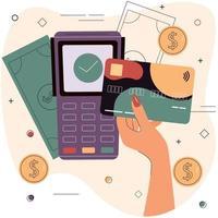 mão feminina com cartão de débito ou crédito na frente do terminal eletrônico. vetor