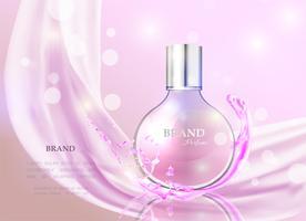 Vector a ilustração de um perfume realístico do estilo em um frasco de vidro.