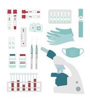 conjunto de equipamentos para teste e vacinação contra coronavírus vetor