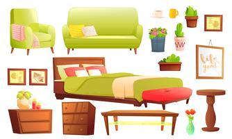 Objeto de vida ou quarto conjunto com sofá de couro e prateleira de madeira com moldura e livros. Mobiliário elegante - uma lâmpada e um vaso e uma mesa. Vetorial, caricatura, ilustração vetor