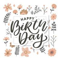 lindo cartão de feliz aniversário com flores e pássaros vetor
