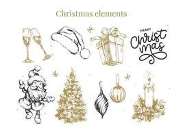 ilustração do esboço do conjunto de ano novo e natal vetor