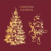 ilustração do esboço do conjunto dourado de ano novo e natal vetor