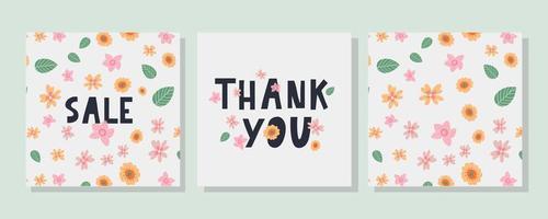 um modelo de cartão de felicitações com uma carta de decoração floral vetor