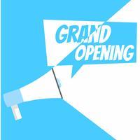 Banner de inauguração. Gramofone com texto, em um fundo azul branco. Ilustração vetorial plana